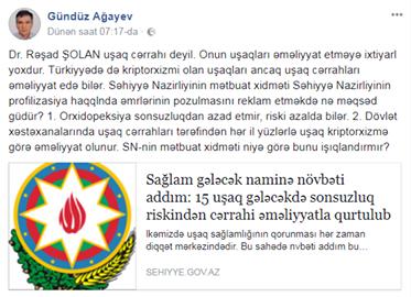 """Tanınmış cərrahdan Səhiyyə Nazirliyinə ittihamlar:  """"Sizin məqsədiniz nədir?"""""""