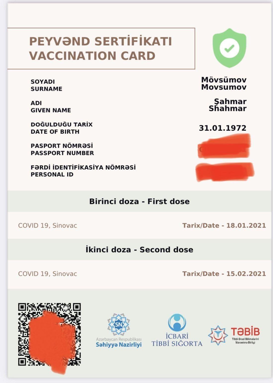 Azərbaycanda Covid 19 pasportu belə olacaq  - FOTO