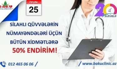 """""""Baku Clinic""""-də bütün xidmətlərə 50 faiz endirim kampaniyası"""