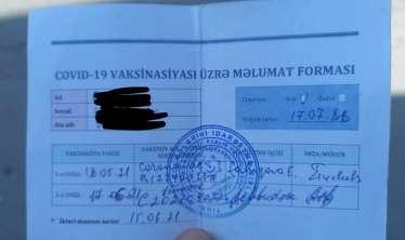 """2 doza vaksin vurduranın sənədi ləğv edildi -  """"Get, təzədən vurdur"""""""